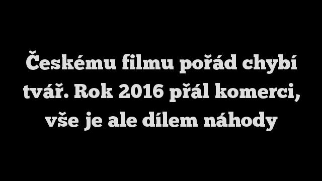 Českému filmu pořád chybí tvář. Rok 2016 přál komerci, vše je ale dílem náhody